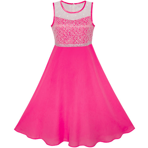 Girls Dress Deep Pink Chiffon Bridesmaid Dance Ball Maxi Gown Size 6-14 Years