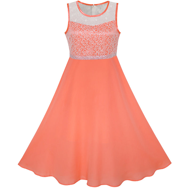Girls Dress Coral Chiffon Bridesmaid Dance Ball Maxi Gown Size 6-14 Years