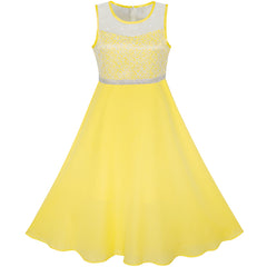 Girls Dress Yellow Chiffon Bridesmaid Dance Ball Maxi Gown Size 6-14 Years