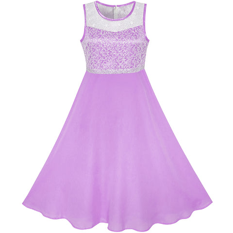 Girls Dress Purple Chiffon Bridesmaid Dance Ball Maxi Gown Size 6-14 Years