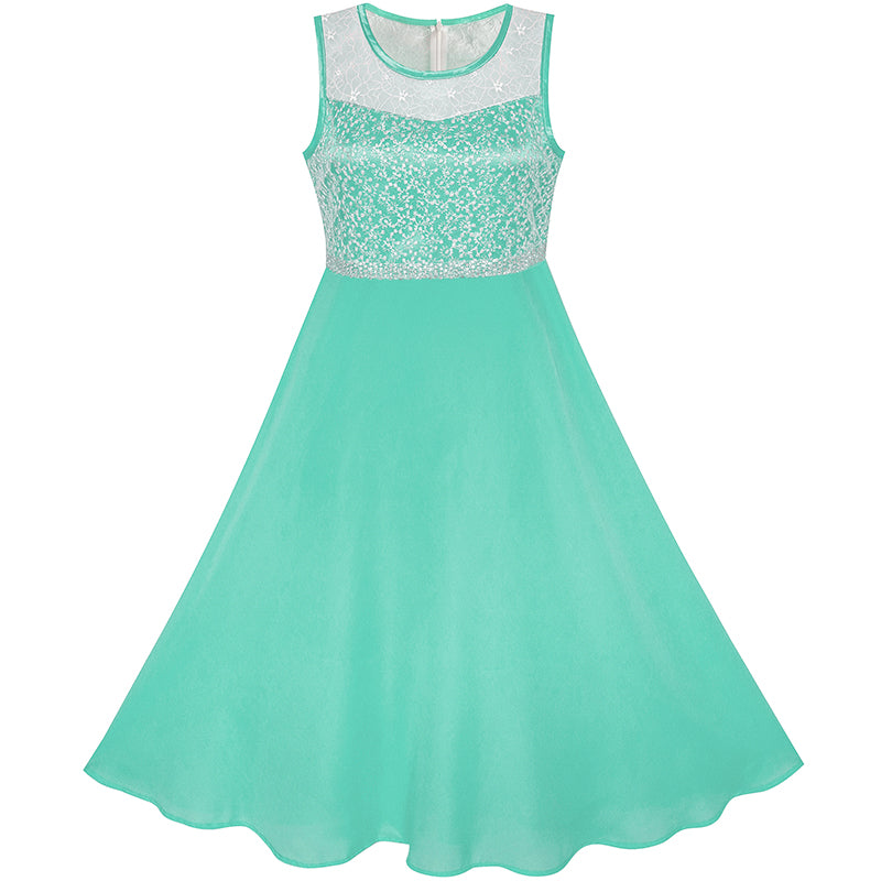 Girls Dress Turquoise Chiffon Bridesmaid Dance Ball Maxi