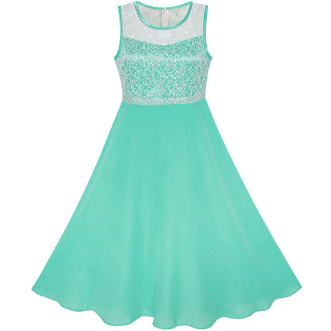 Girls Dress Turquoise Chiffon Bridesmaid Dance Ball Maxi Gown Size 6-14 Years