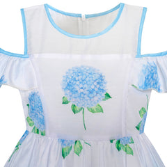 Girls Dress Blue Hydrangea Flower Cold Shoulder Party Princess Size 5-12 Years