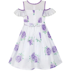 Girls Dress Purple Hydrangea Flower Cold Shoulder Party Princess Size 5-12 Years