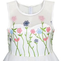 Flower Girls Dress Embroidery Floral Pageant Bridesmaid Party Size 7-14 Years