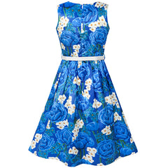 Girls Dress Blue White Flower Belt Sparkling Vintage Party Dress Size 6-14 Years