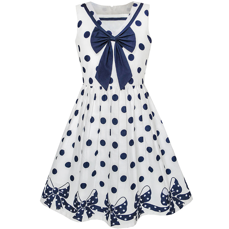 Girls Dress Navy Blue Dot Bow Tie Back School Size 5-12 Years