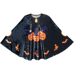 Halloween Cape Velvet Cloak Pumpkin Witch Bat Costumes Wizard Size 4-12 Years