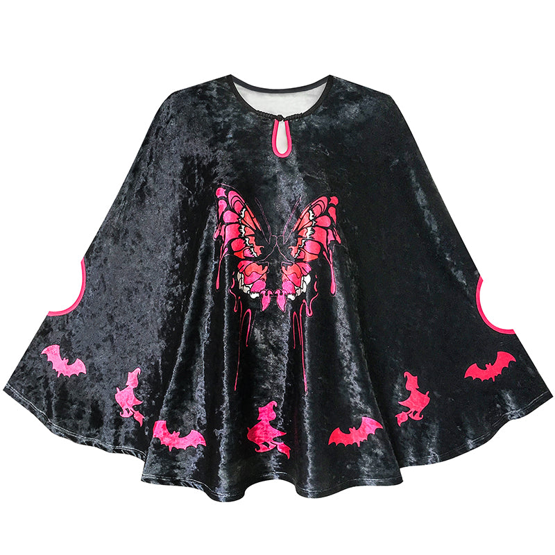 Halloween Witch Cape Velvet Cloak Butterfly Bat Costume Wizard Size 4-12 Years