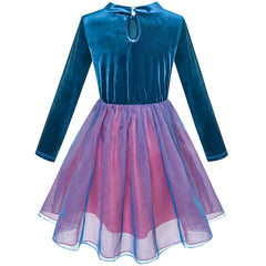 Girls Dress Velvet Top Ruffle Collar Necklace Tulle Skirt Size 5-12 Years