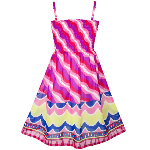 Girls Dress Violet Tank Smocked Stripe Wave Summer Beach Size 7-14 Years