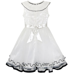 Girls Dress White Ruffle Collar Lace First Communion Pageant Size 5-10 Years