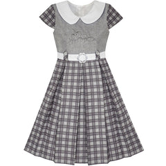 Girls Dress Gray Plaid Belted School Pleated Hem Size 4-14 Years