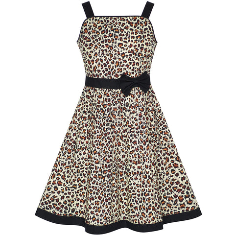 Girls Dress Brown Leopard Print Summer Beach Size 4-12 Years