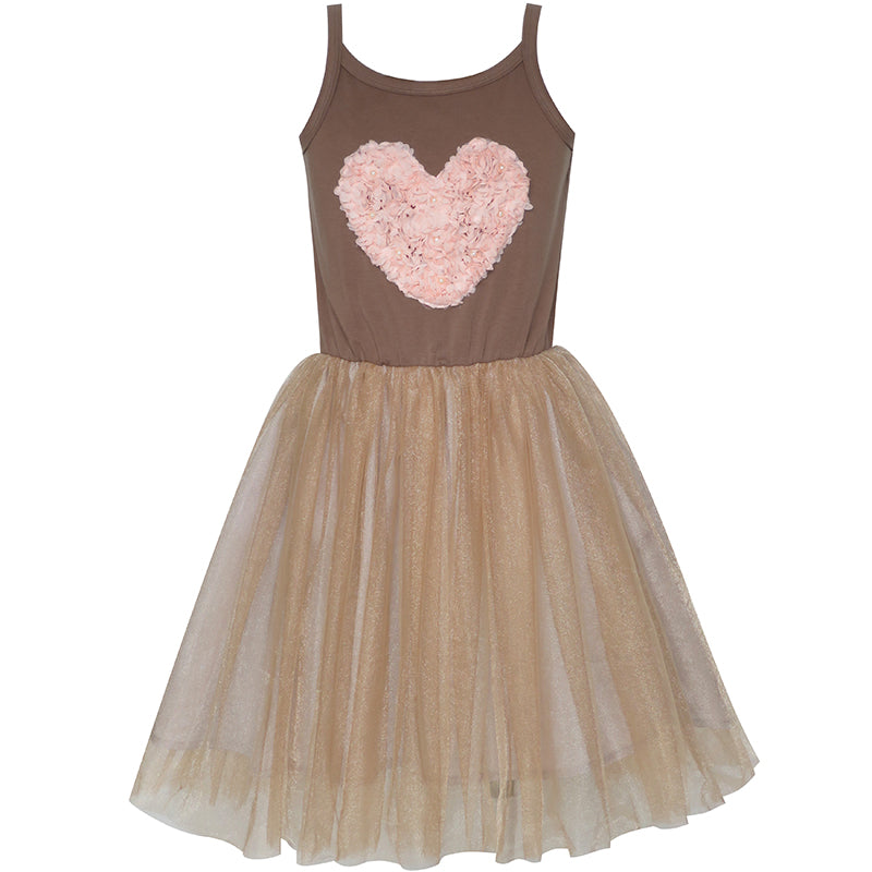 Girls Dress Tank Heart Flower Pearl Tulle Skirt Tutu Dress Size 4-10 Years
