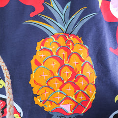 Girls Dress Pineapple Leaf Flower Parrot Print Tropical Size 6-12 Years
