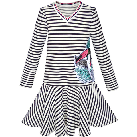 Girls Dress Stripe Long Sleeve Parrot School Jumper Size 6-12 Years