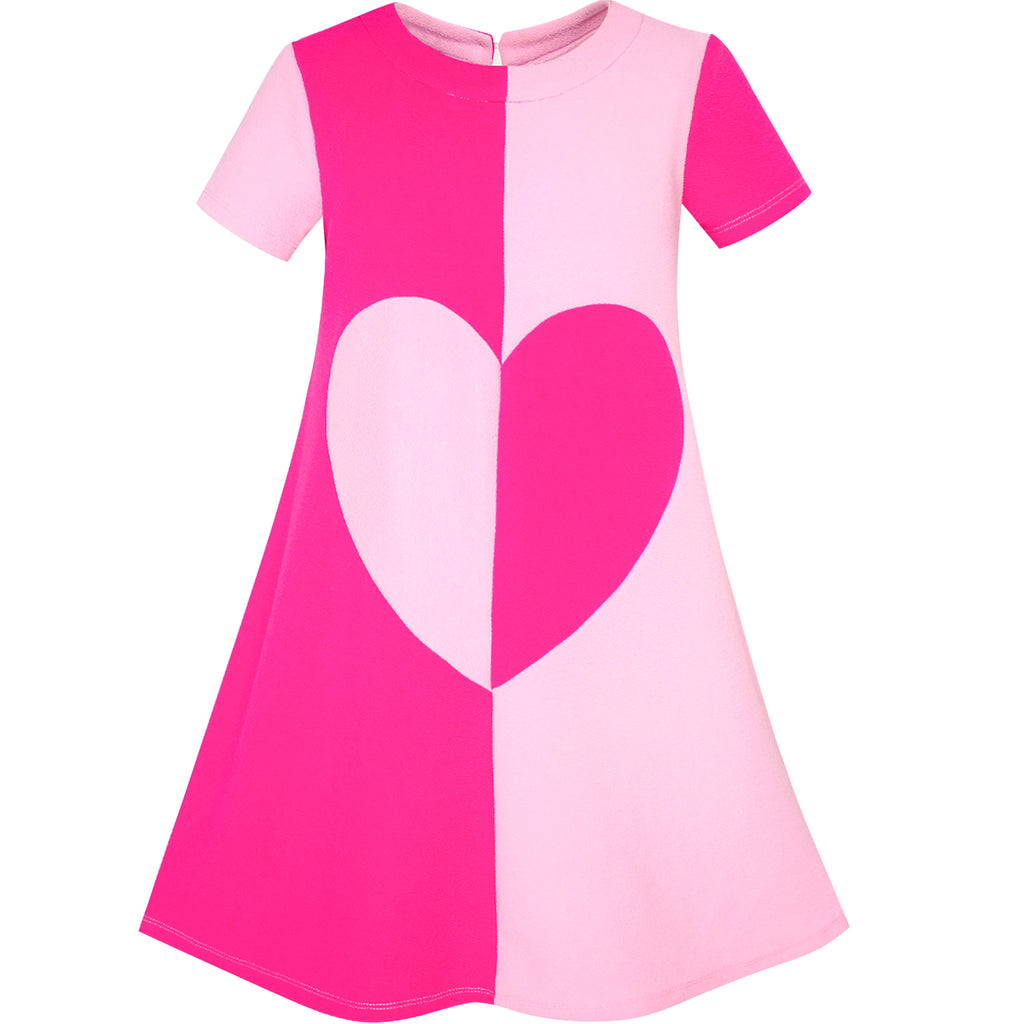 Girls Dress Pink Color Contrast Heart A-line Size 5-12 Years
