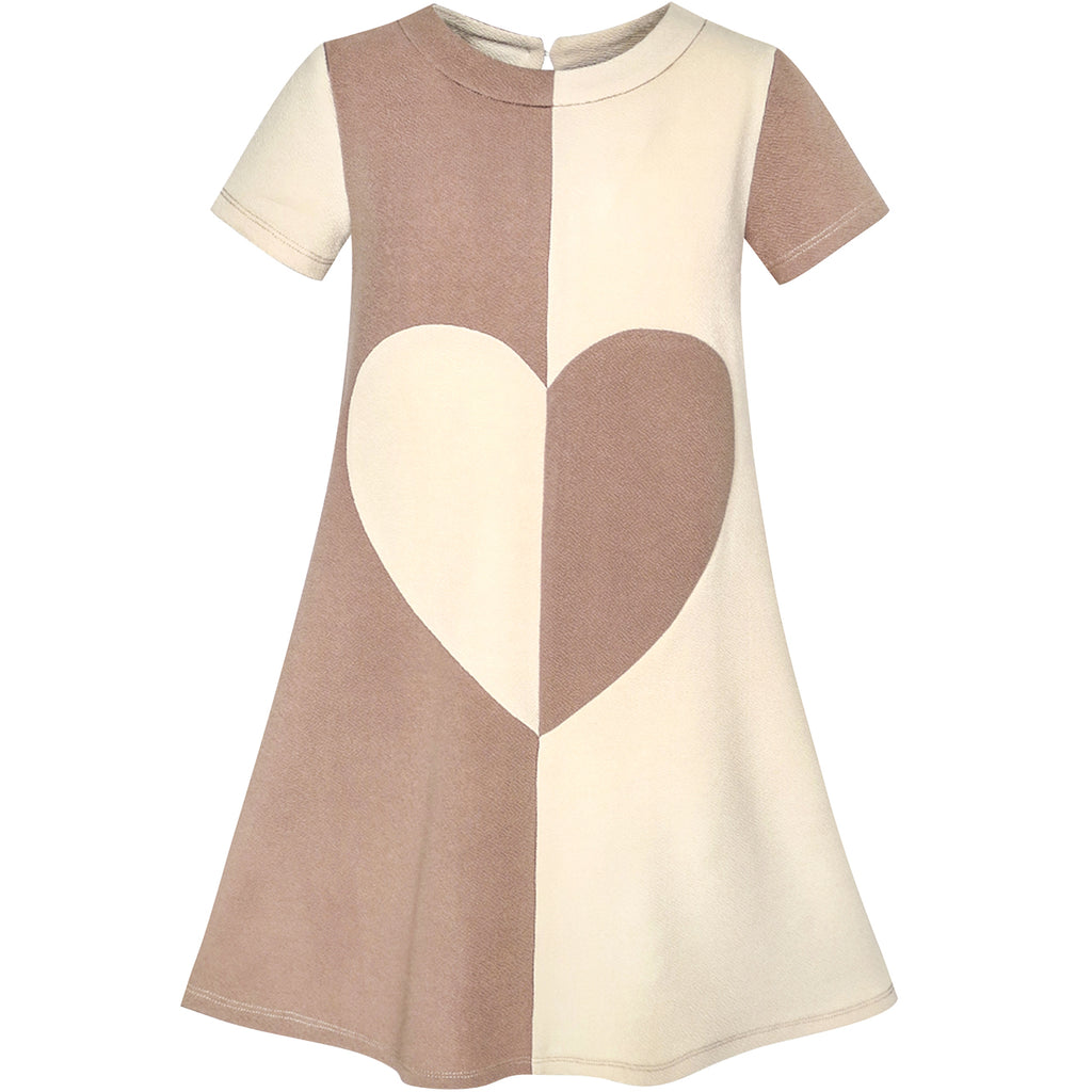 Girls Dress Coffee Color Contrast Heart A-line Size 5-12 Years
