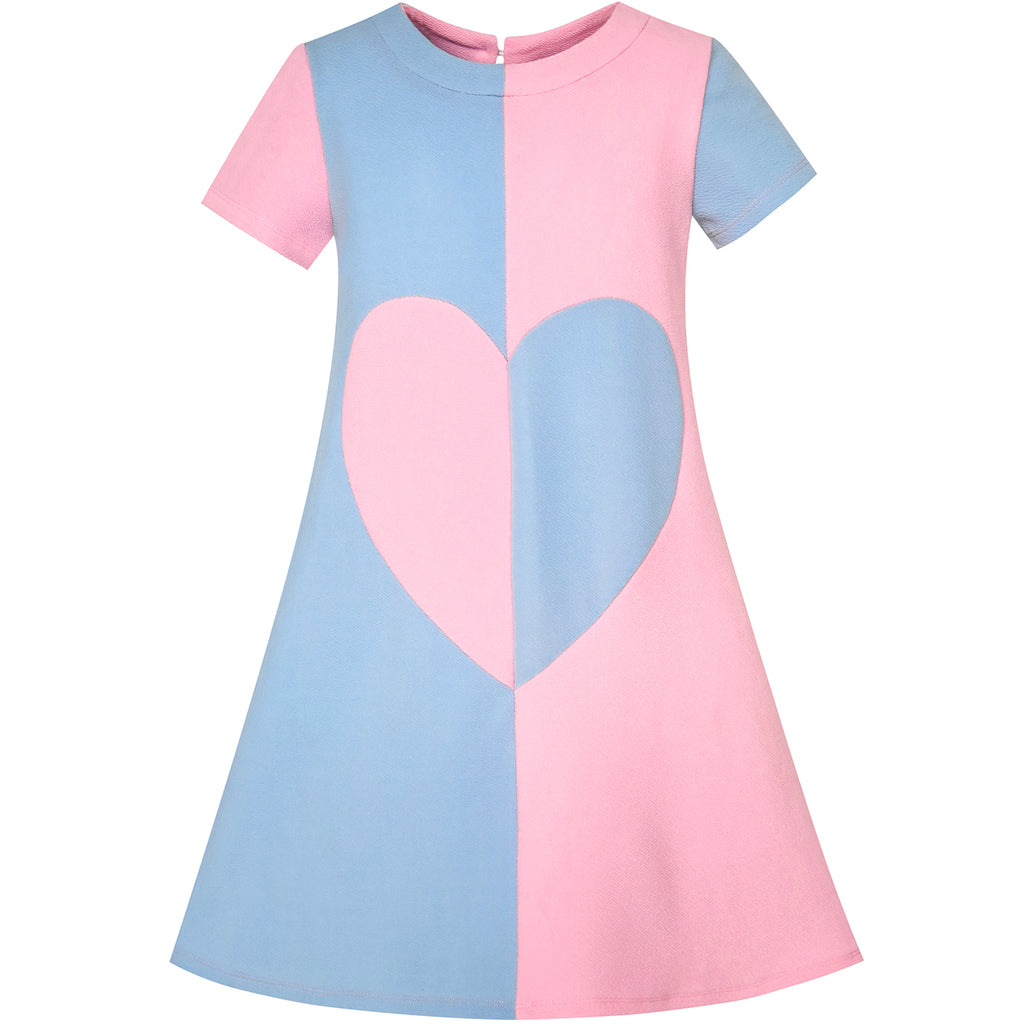 Girls Dress Blue Color Contrast Heart A-line Size 5-12 Years