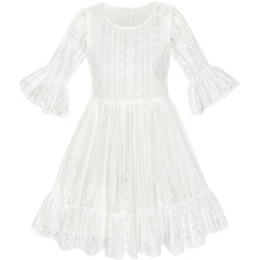 Girls Dress Off White Lotus Sleeve Lace Princess Party Dress Size 5-12 Years
