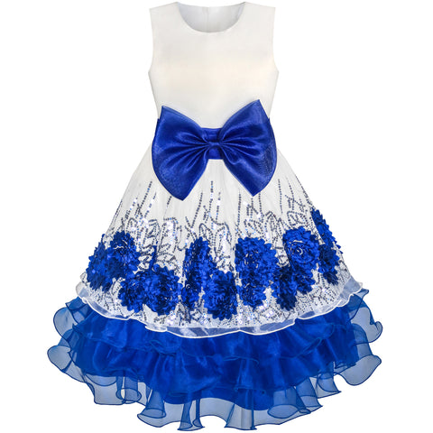 Flower Girls Dress Blue Sequin Dimensional Flowers Bow Tie Pageant Size 7-14 Years