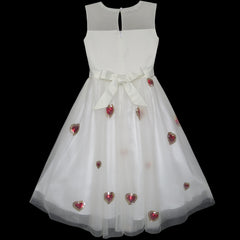 Girls Dress Red Heart Sequins Princess Wedding Pageant Size 6-14 Years