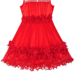 Girls Dress Red Dimensional Flower Birthday Wedding Dress Size 6-12 Years