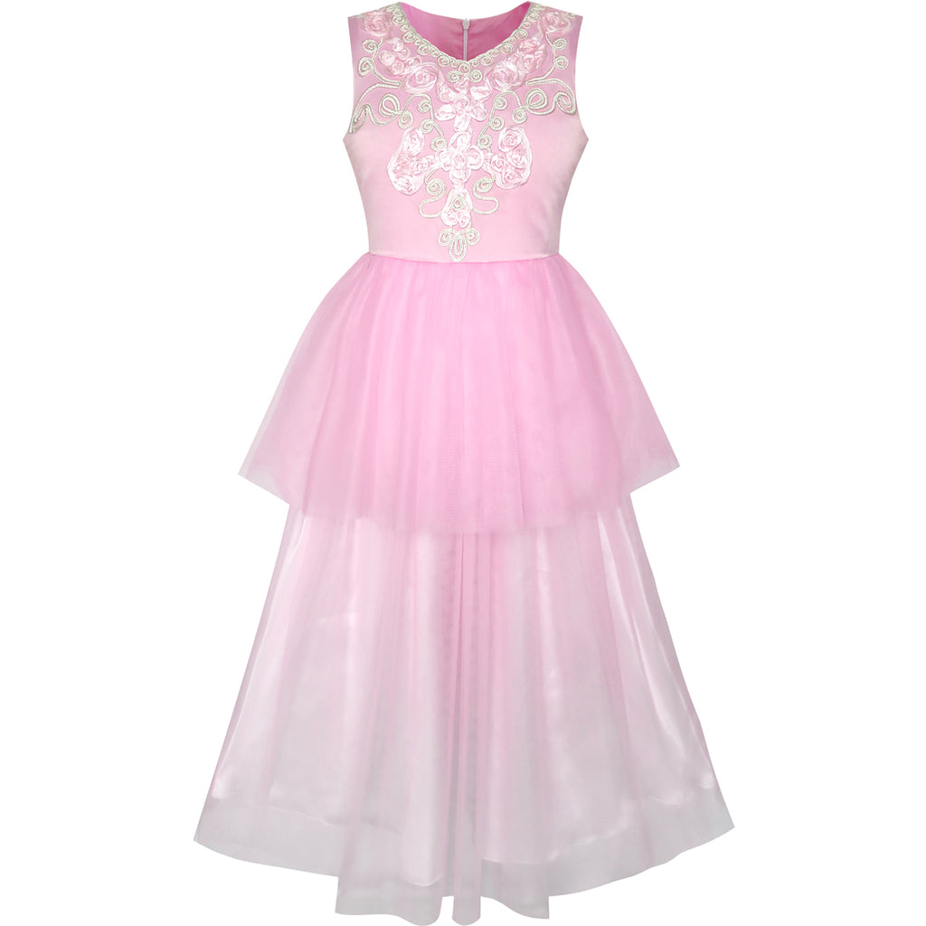 Flower Girls Dress Pink Dancing Ball Gown Princess Party – Sunny Fashion