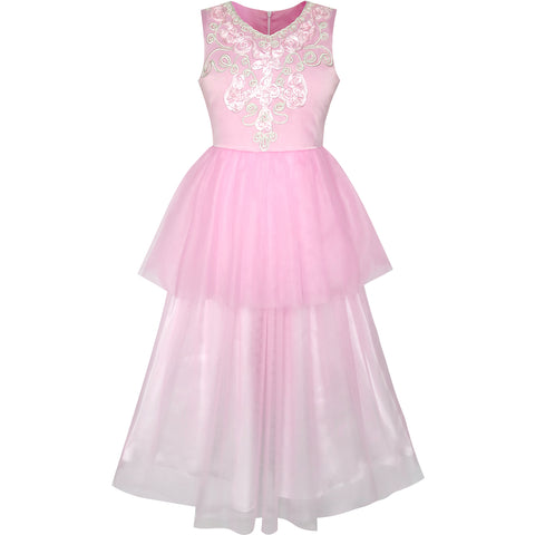 Flower Girls Dress Pink Dancing Ball Gown Princess Party Size 7-14 Years