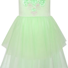 Flower Girls Dress Green Dancing Ball Gown Princess Party Size 7-14 Years