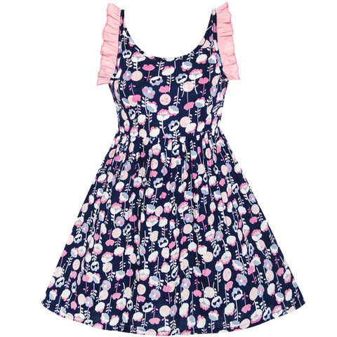 Girls Dress Flower Ruffle Halter Smocked Size 4-8 Years