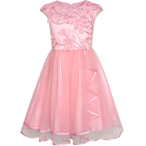 Flower Girls Dress Dimensional Cutting-Edge Skirt Pageant Size 6-12 Years