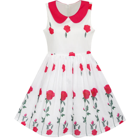 Girls Dress Rose Flower Collar Princess Party Size 5-12 Years
