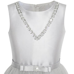 Girls Dress Silver Gray Bow Tie Sequin Party Princess Size 6-12 Years