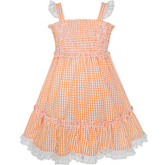 Girls Dress Orange Tank Smocked Ruffle Skirt Size 12M-5 Years