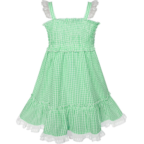 Girls Dress Green Tank Smocked Ruffle Skirt Size 12M-5 Years