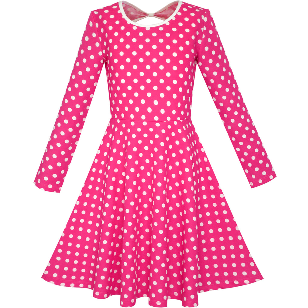 Girls Dress Deep Pink White Dot Back Cutout Back School Dress Size 4-10 Years
