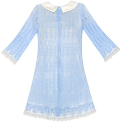 Girls Dress 3/4 Sleeve White Collar Lace Blue Dress Size 5-12 Years