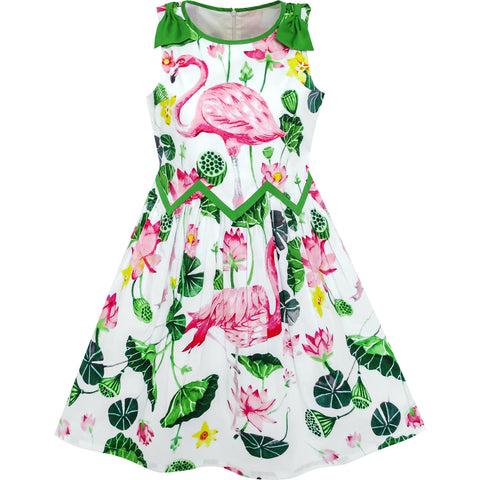 Girls Dress Flamingos Lotus Print Wave Waist Bow Tie Size 6-12 Years