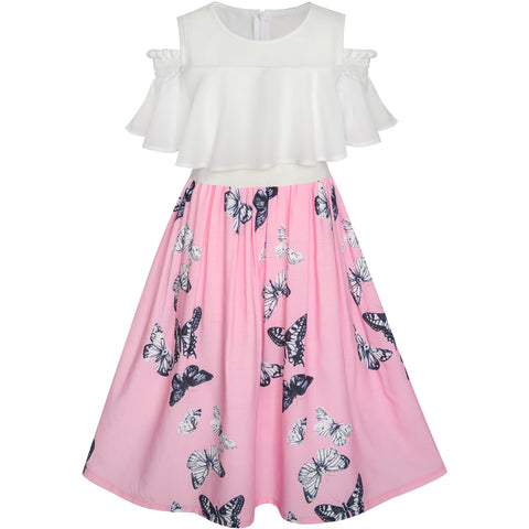 Girls Dress Chiffon Butterfly Ruffle Cold Shoulder White Pink Size 7-14 Years