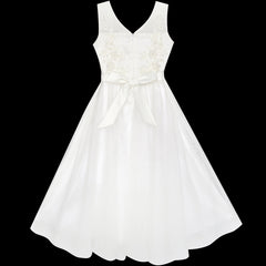 Flower Girls Dress Off White Wedding Veil First Communion Size 6-12 Years