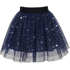 Girls Skirt Navy Blue Pearl Stars Sparkling Tutu Dancing Size 4-12 Years