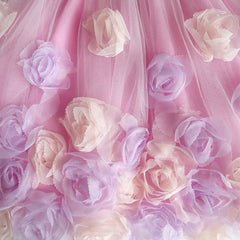 Girls Skirt Pink Rose Flower Tutu Dancing Dress Size 6-12 Years