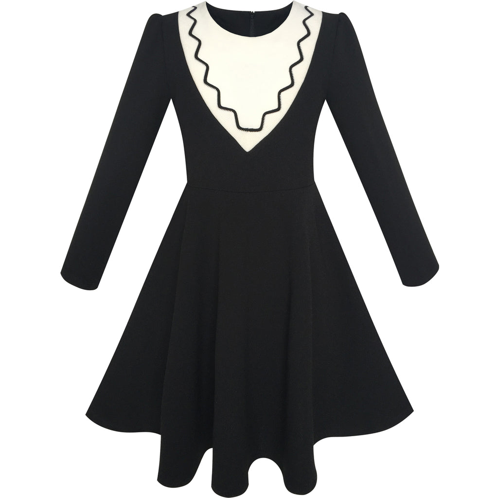 Girls Dress Back School Long Sleeve Black Dress  Sunny -4443