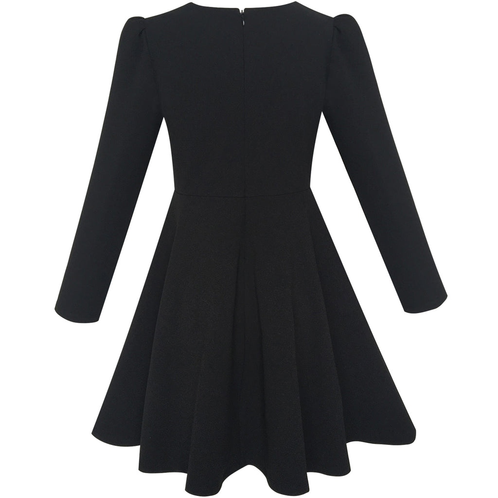 Girls Dress Back School Long Sleeve Black Dress  Sunny -1177
