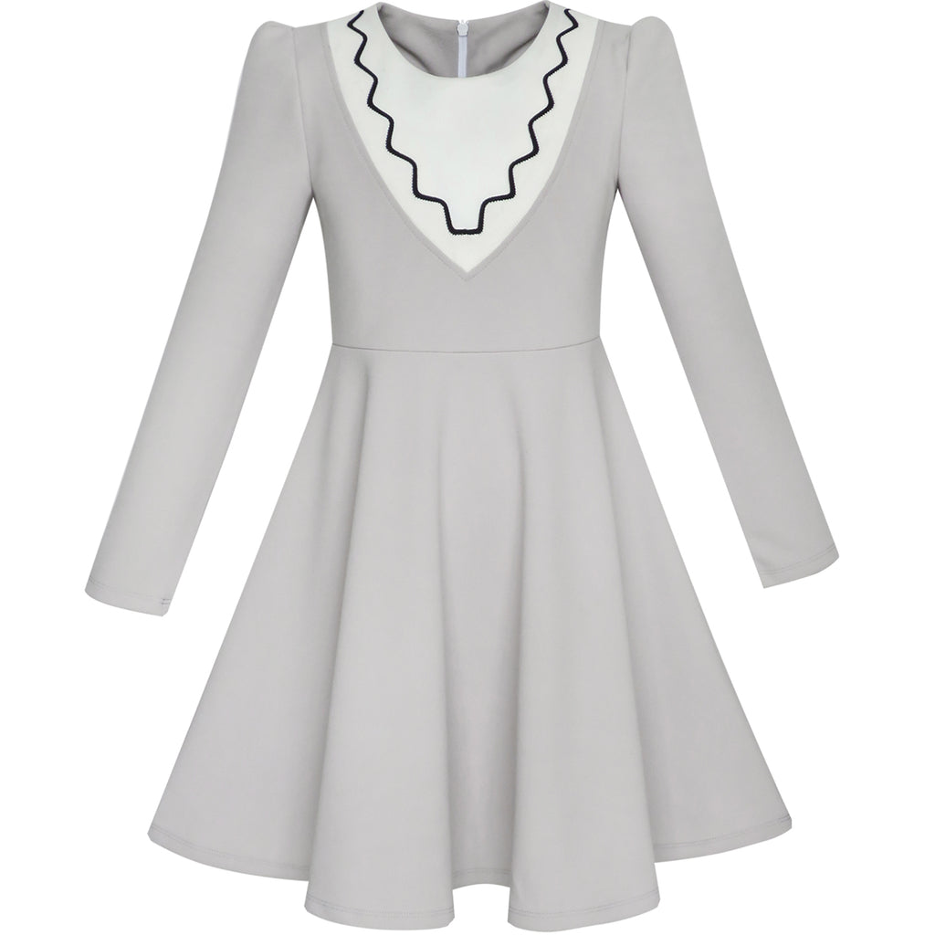 759472aa27b9 Girls Dress Back School Long Sleeve Gray Dress – Sunny Fashion
