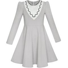 Girls Dress Back School Long Sleeve Gray Dress Size 6-12 Years
