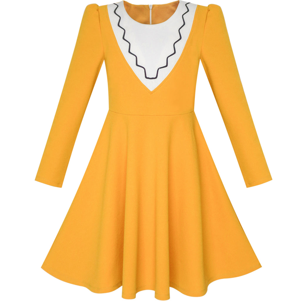 cbf0797d43aa Girls Dress Back School Long Sleeve Yellow Dress – Sunny Fashion