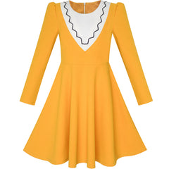 Girls Dress Back School Long Sleeve Yellow Dress Size 6-12 Years